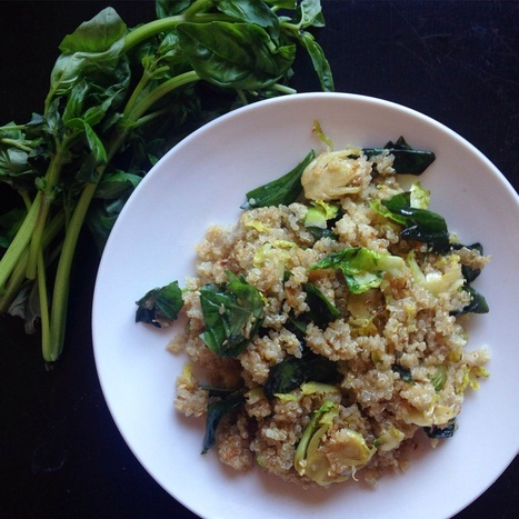Sesame Basil Quinoa with Fried Brussels Sprouts | www.thealiconklin.com