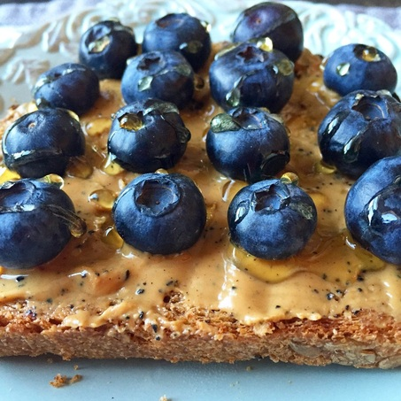 Blueberry and Almond Butter Toast | www.thealiconklin.com