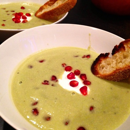 Warm Avocado Soup with Pomegranate | www.thealiconklin.com