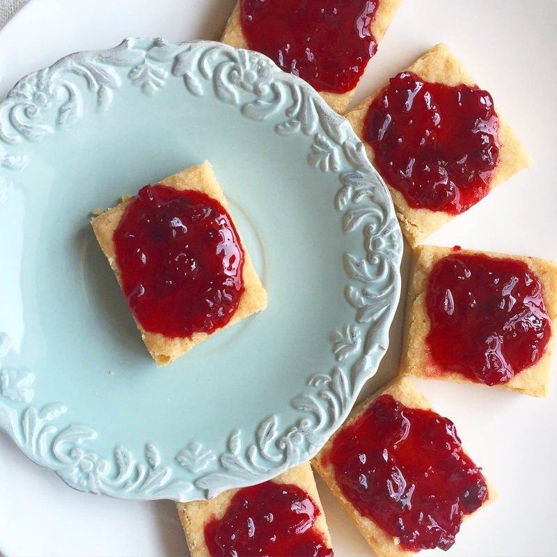 Lemon Shortbread Cookies topped with Tart Cherry Jam | www.thealiconklin.com