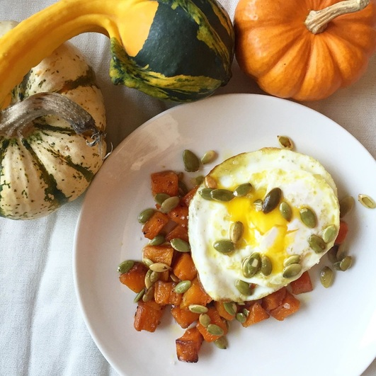 Fried Egg Atop Butternut Squash | www.thealiconklin.com